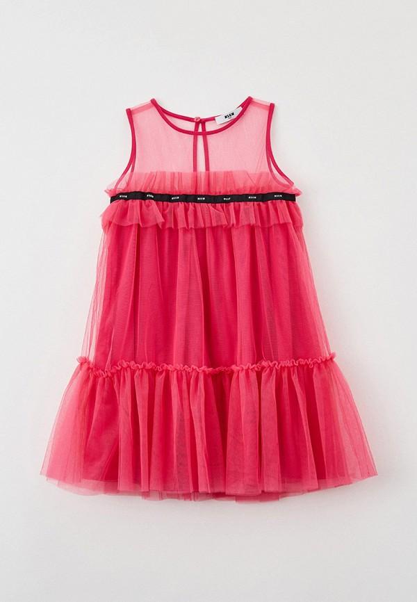 платье msgm kids для девочки, розовое