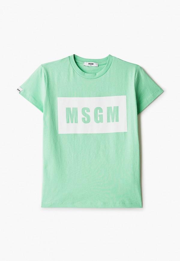 футболка с коротким рукавом msgm kids малыши, зеленая