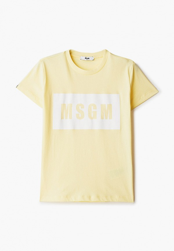 футболка с коротким рукавом msgm kids малыши, желтая