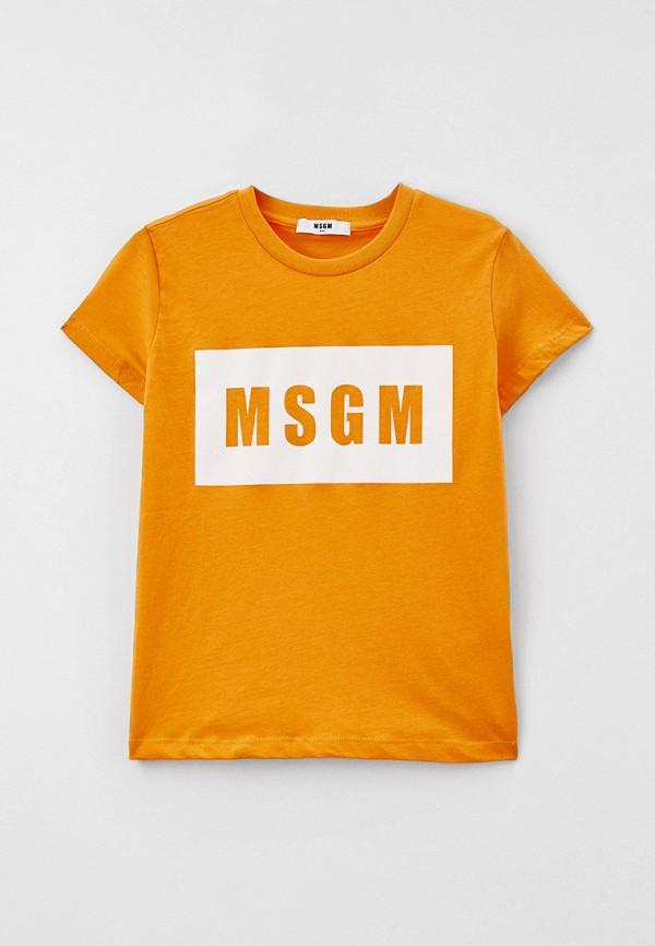 футболка с коротким рукавом msgm kids малыши, оранжевая