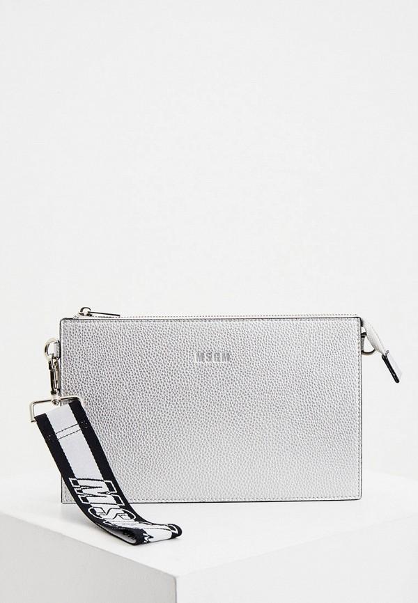 женская сумка через плечо msgm, серебряная