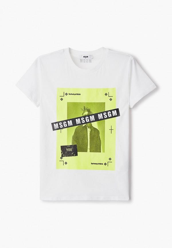 футболка с коротким рукавом msgm для мальчика, белая