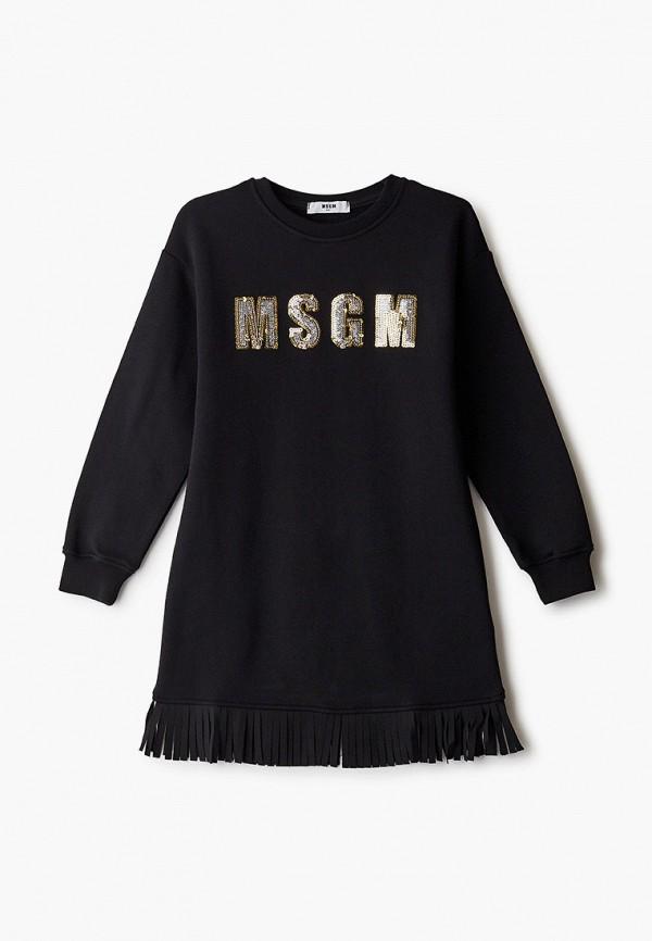 повседневные платье msgm для девочки, черное