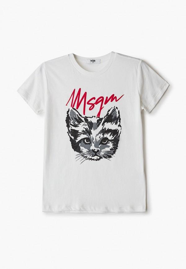 футболка с коротким рукавом msgm для девочки, белая