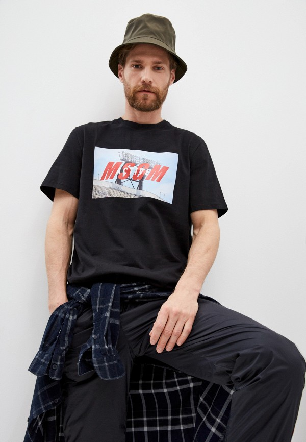 мужская футболка msgm, черная
