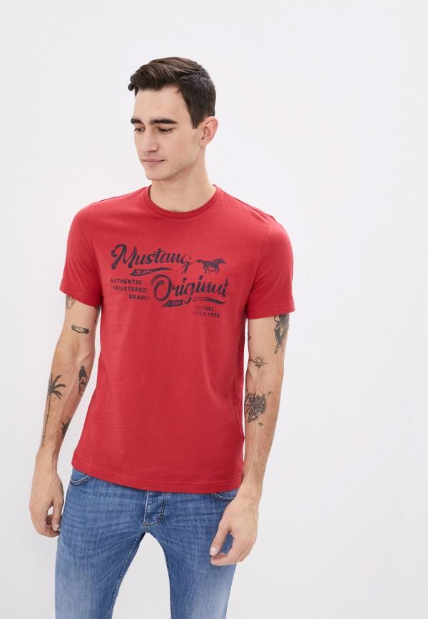 мужская футболка с коротким рукавом mustang, бордовая