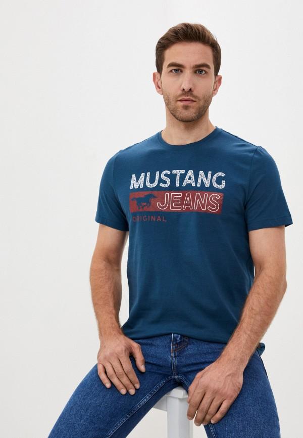 мужская футболка с коротким рукавом mustang, синяя