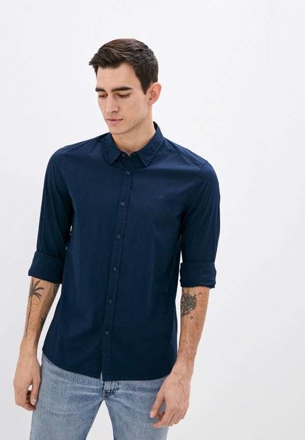 мужская рубашка с длинным рукавом mustang, синяя