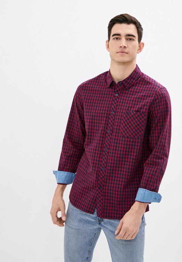 мужская рубашка с длинным рукавом mustang, красная