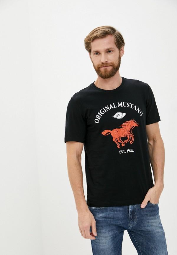 мужская футболка с коротким рукавом mustang, черная
