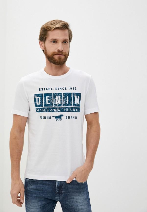 мужская футболка с коротким рукавом mustang, белая