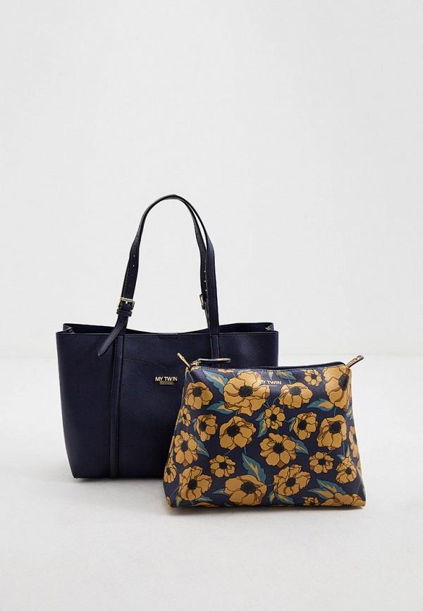 женская сумка-шоперы twinset milano, синяя