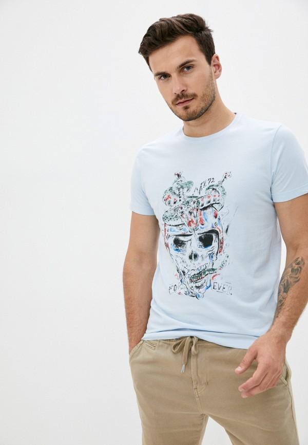 мужская футболка с коротким рукавом mz72, голубая