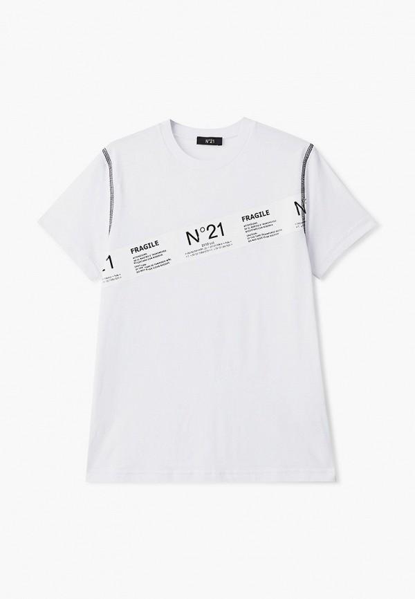 футболка с коротким рукавом n21 для мальчика, белая