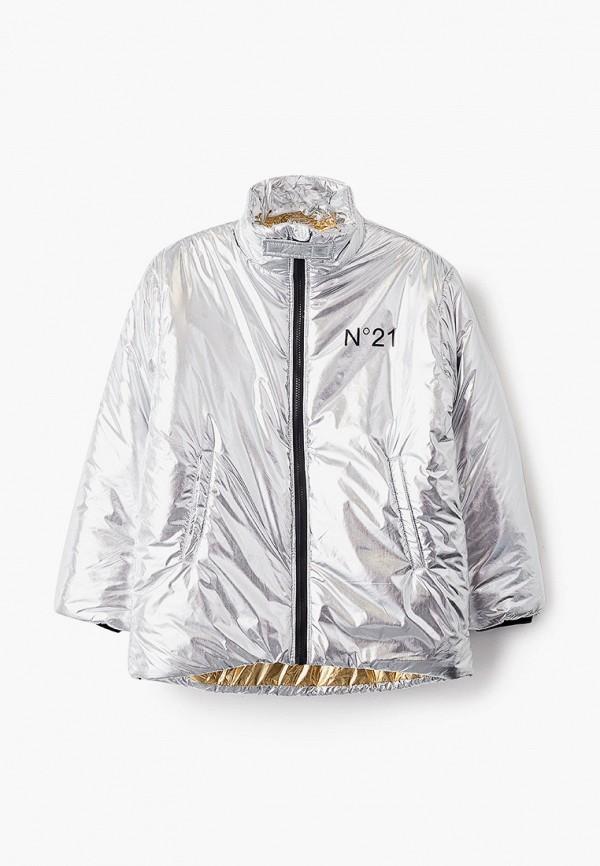 утепленные куртка n21 для девочки, серебряная