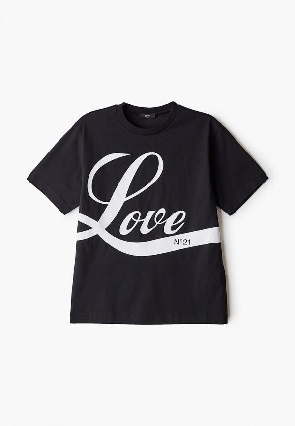 футболка с коротким рукавом n21 для девочки, черная