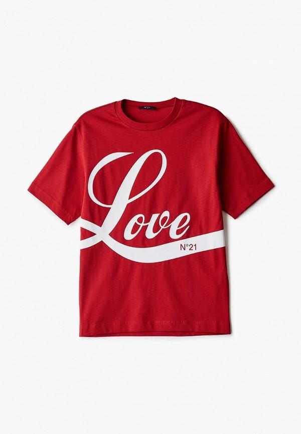 футболка с коротким рукавом n21 для девочки, красная