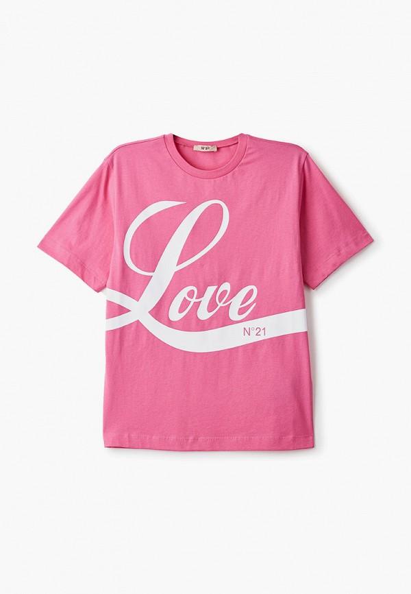 футболка с коротким рукавом n21 для девочки, розовая