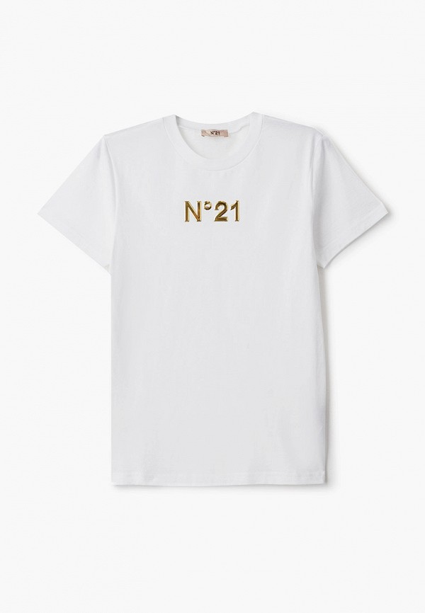 футболка с коротким рукавом n21 для девочки, белая