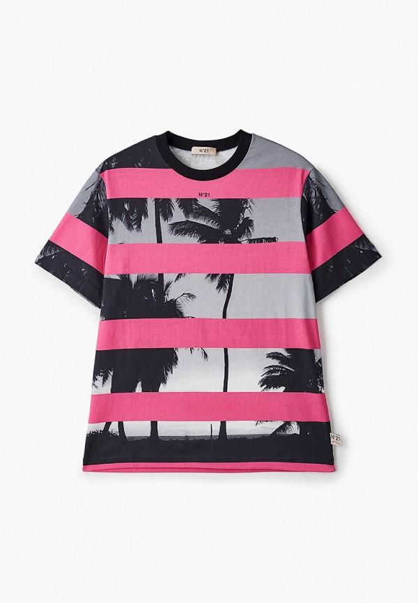 футболка с коротким рукавом n21 для девочки, серая