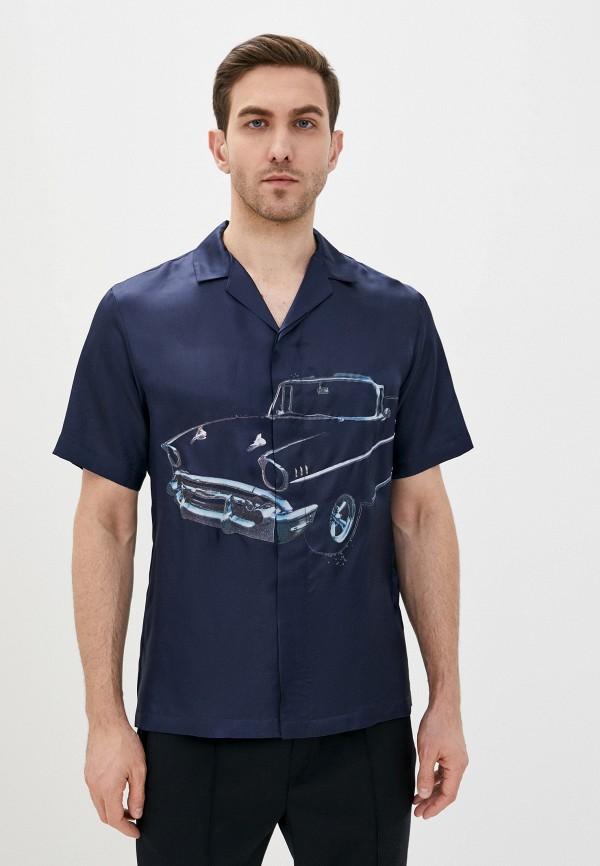 мужская рубашка с длинным рукавом n21, синяя