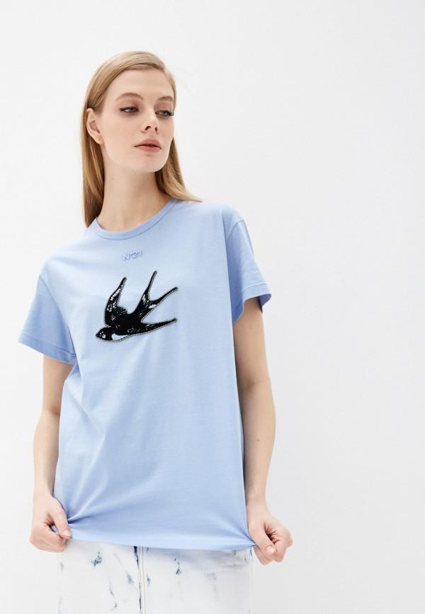 женская футболка n21, голубая