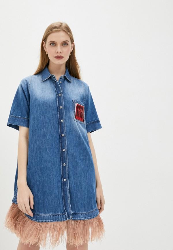 женское джинсовые платье n21, синее