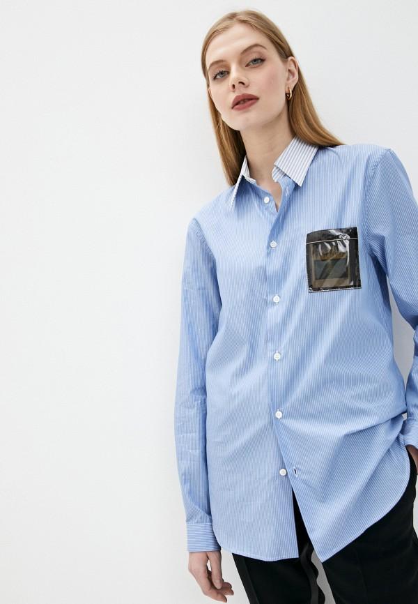 женская рубашка с длинным рукавом n21, синяя