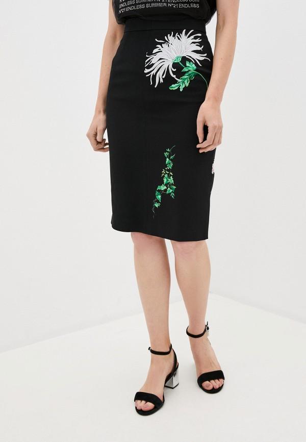 женская прямые юбка n21, черная