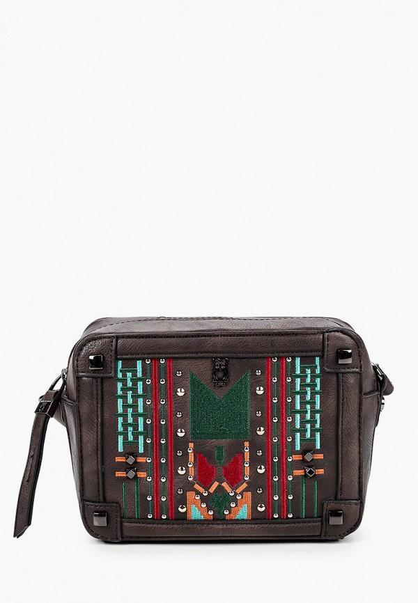 женская сумка через плечо nano de la rosa, коричневая