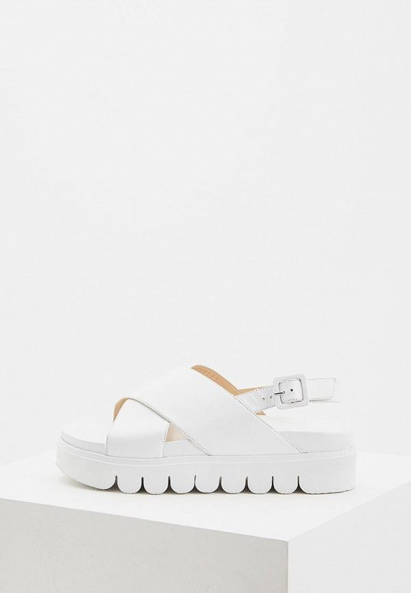 Женские белые итальянские кожаные сандалии