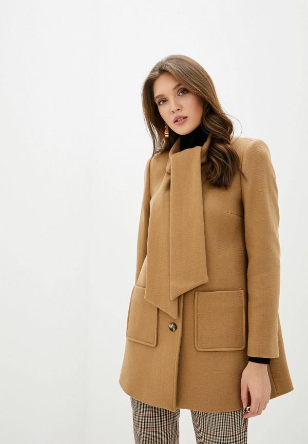 женское пальто naf naf, бежевое