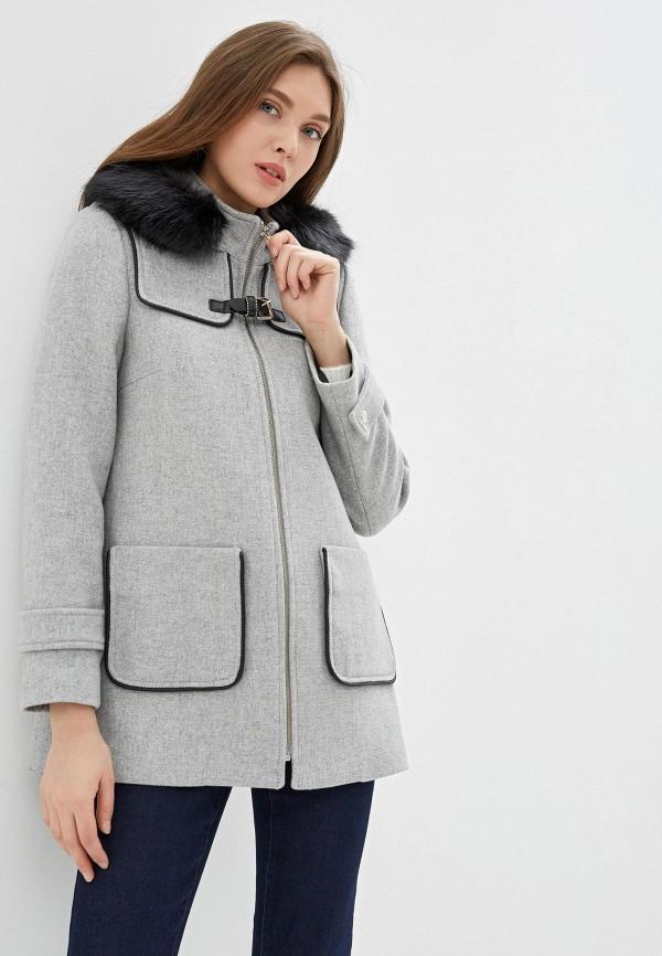 женское пальто naf naf, серое