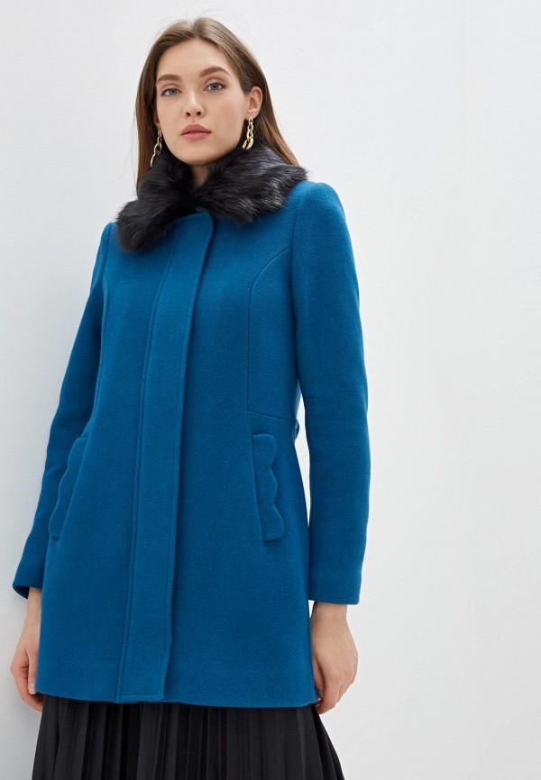 женское пальто naf naf, синее