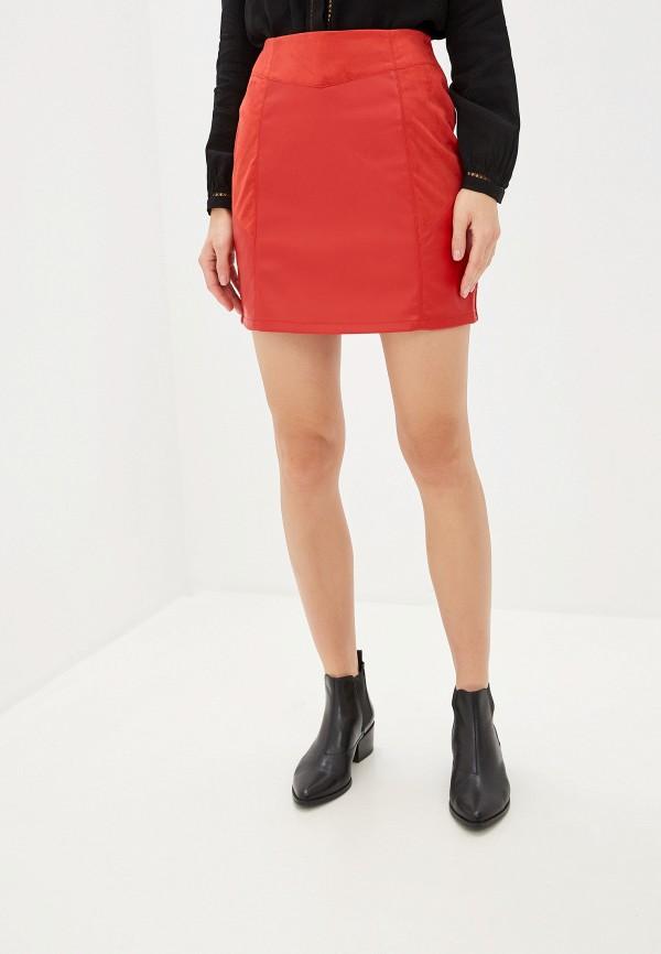 женская юбка naf naf, красная