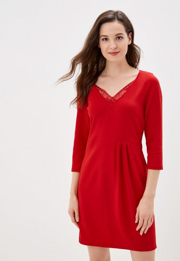 женское повседневные платье naf naf, красное