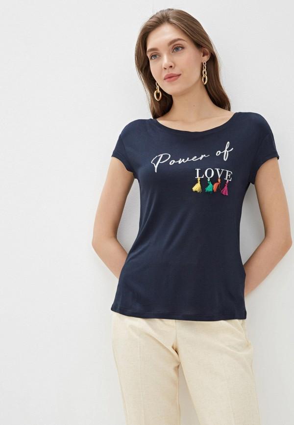 женская футболка naf naf, синяя