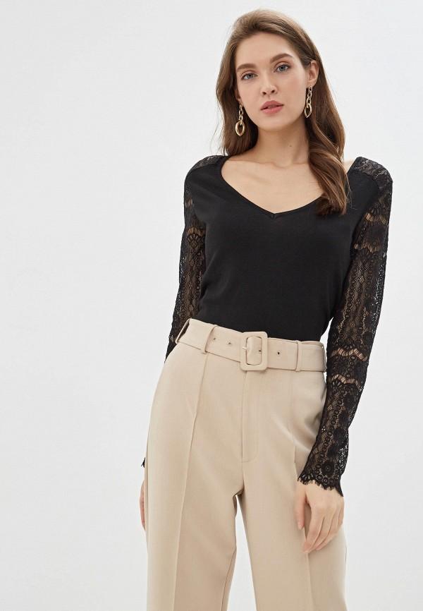 женский пуловер naf naf, черный