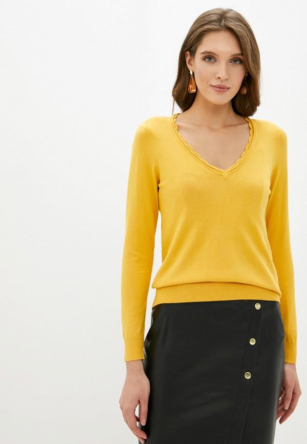 женский пуловер naf naf, желтый