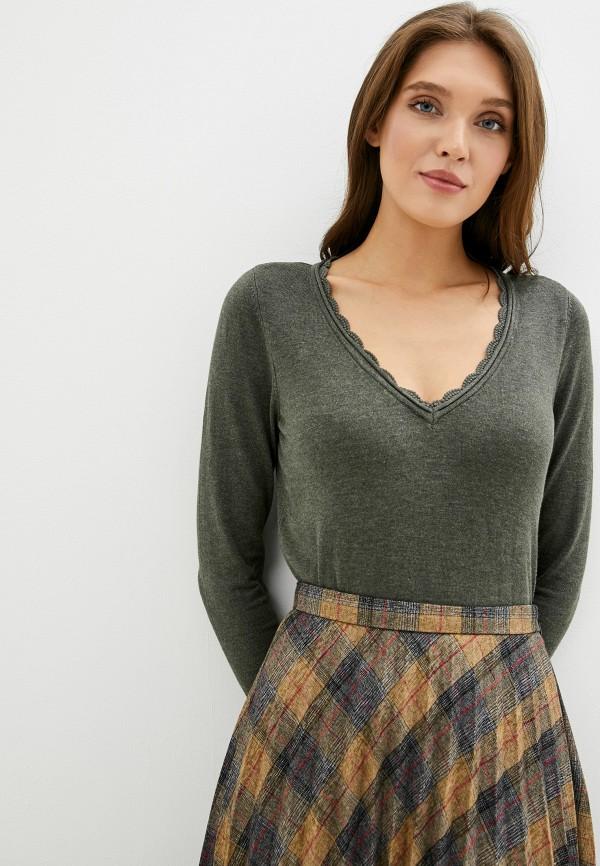 женский пуловер naf naf, хаки