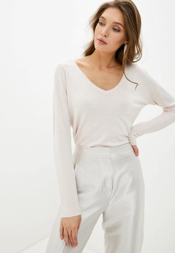 женский пуловер naf naf, бежевый