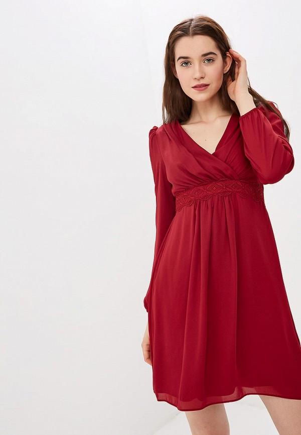 женское повседневные платье naf naf, бордовое