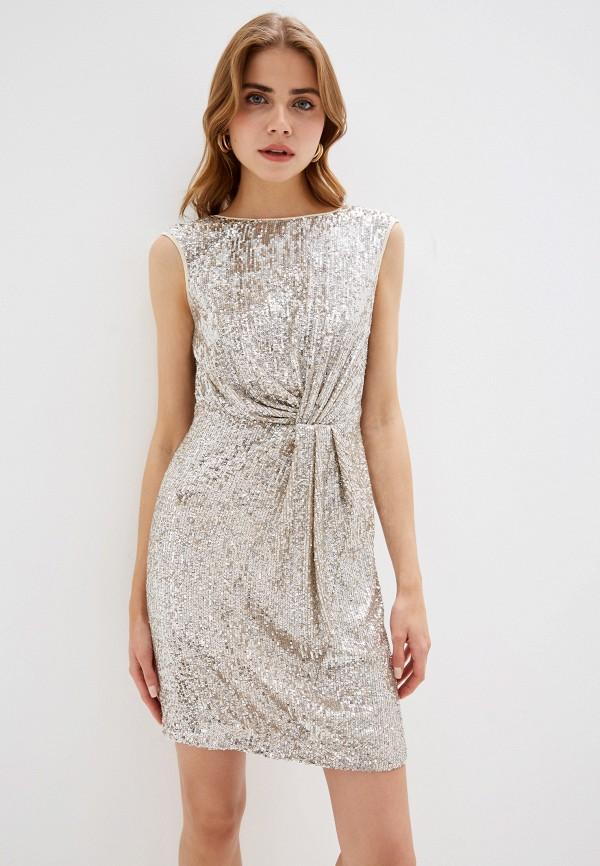 женское вечерние платье naf naf, серебряное