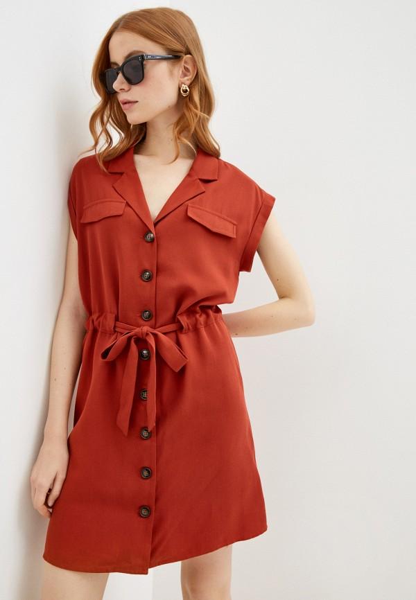 женское повседневные платье naf naf, коричневое