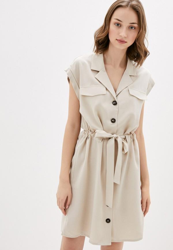 женское повседневные платье naf naf, бежевое