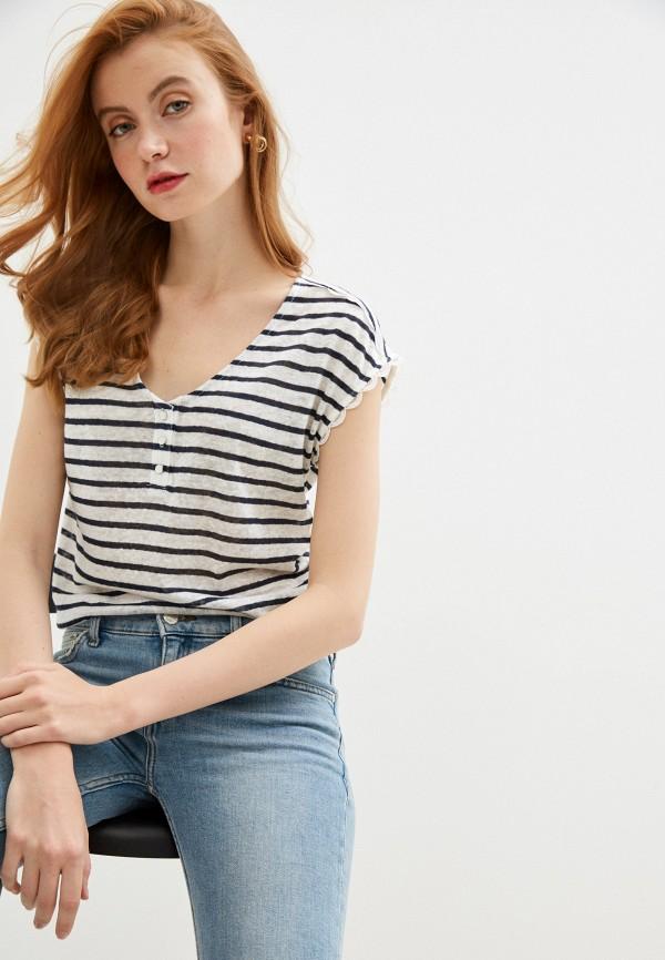 женская футболка naf naf, белая