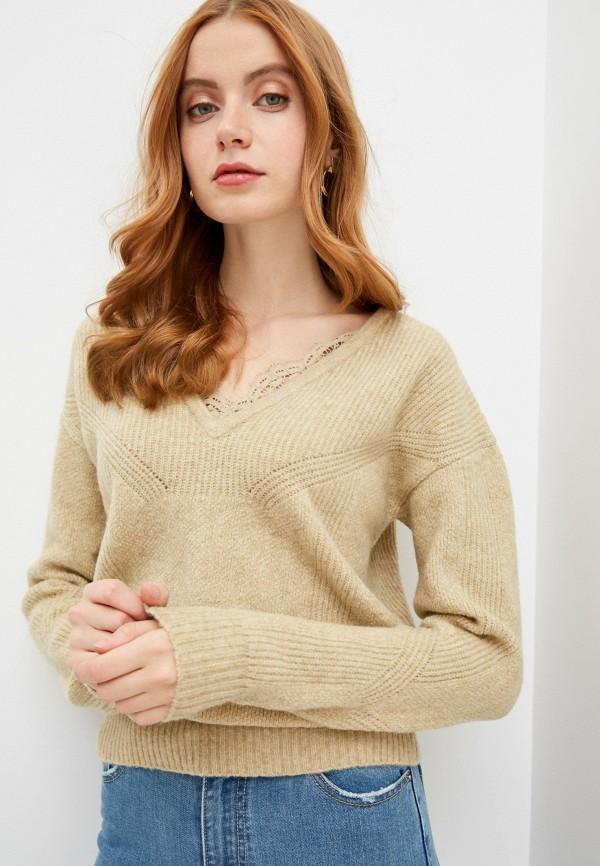 женский пуловер naf naf, коричневый