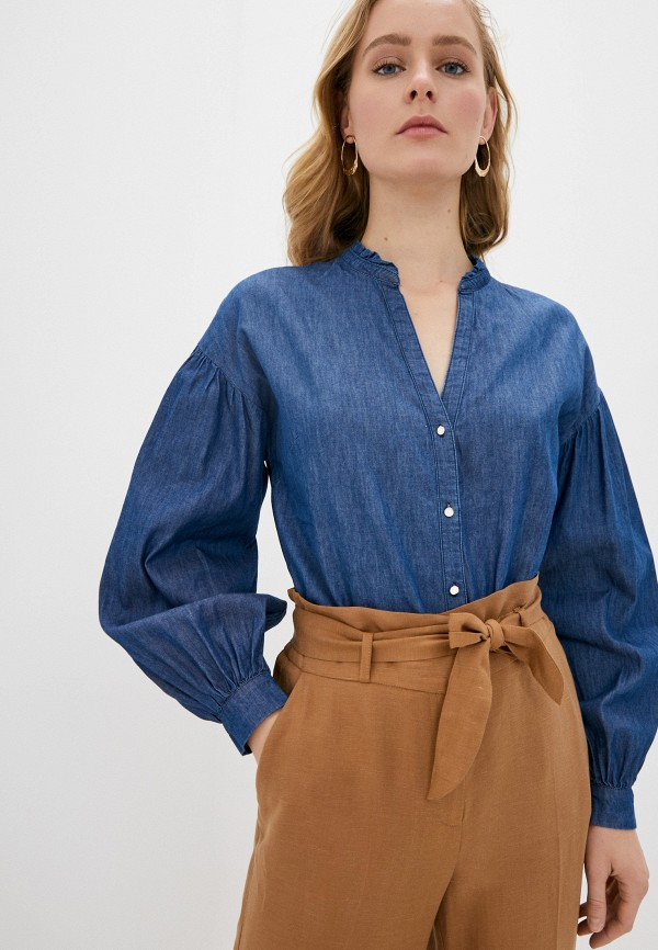 женская джинсовые рубашка naf naf, синяя