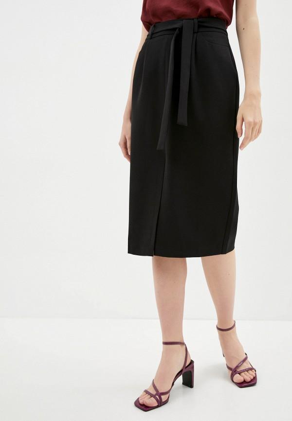 женская прямые юбка naf naf, черная