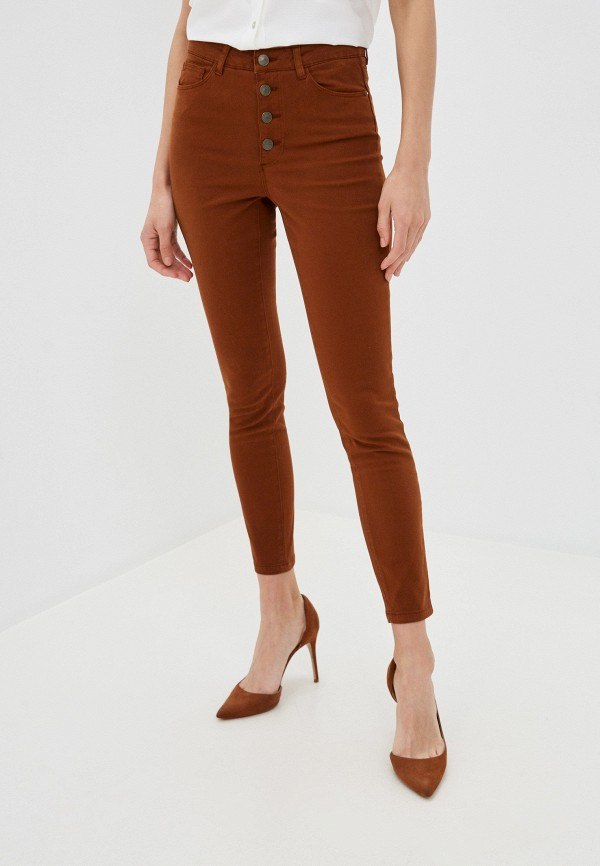женские повседневные брюки naf naf, коричневые